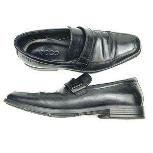 Ecco Leather Loafer Strap Apron Toe Shoe Black